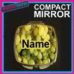 GREEN GRAPES PRINT PERSONALISED NAME GIFT COMPACT LADIES METAL HANDBAG MIRROR